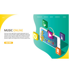 music online landing page website template vector image