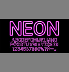 neon font in purple color vector image