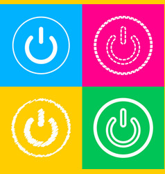 on off switch sign four styles of icon on four vector image vector image