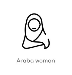 Outline araba woman icon isolated black simple vector
