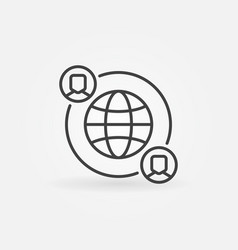 Outsourcing line icon made with earth and vector