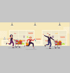 panic buying people run with full cart at vector image