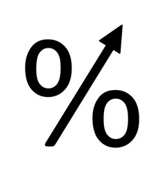 Percentage growth glyph icon vector