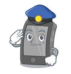 Police ipad in a mascot bag vector