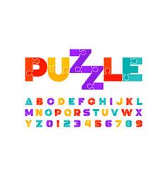 Puzzle font colorful jigsaw puzzle alphabet vector