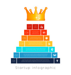 Pyramid of 7 steps to success infographic vector