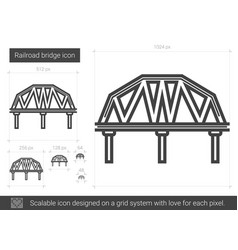 Railroad bridge line icon vector