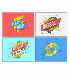 retro-futuristic promotion banners scrolls price vector image