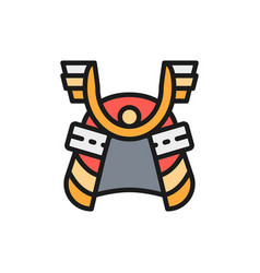 samurai helmet japanese warrior mask flat color vector image