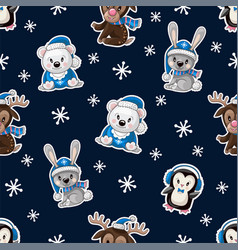 seamless pattern with cute baanimals on vector image