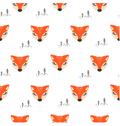seamless pattern with cute foxes white vector image