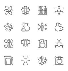 Set chemical concept icons in thin line vector