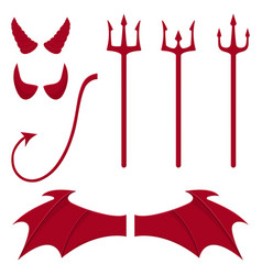 Set devil elements isolated on white vector