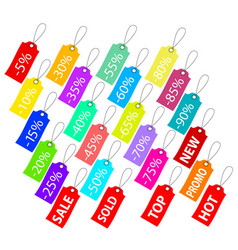 set of multicolor sale tags on white stock vector image