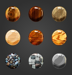Set of wooden and stone buttons vector image