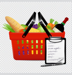 Shopping basket with foods and shopping list vector