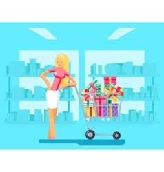 Shopping Girl shop cart purchase gift flat design vector