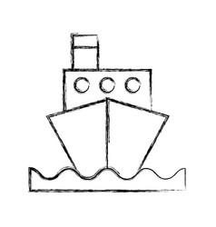 Sketch draw ship cartoon vector