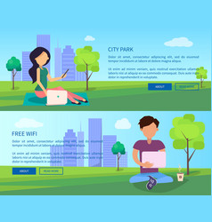 Social networking web banner with man and woman vector