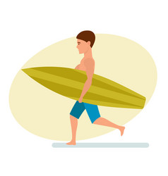 Surfer stands sideways holding board for swimming vector