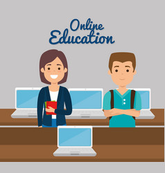 teacher woman with laptop online education vector image