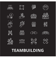 teambuilding editable line icons set on vector image
