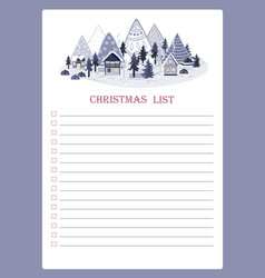 template for christmas to do list with vector image