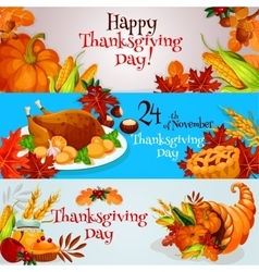 Thanksgiving banners greeting card set vector image