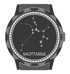The watch dial with the zodiac sign Sagittarius vector image