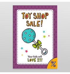 Toy shop sale flyer design with blue dotted rattle vector