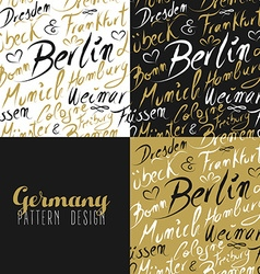 Travel germany europe berlin seamless pattern gold vector image