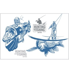 Underwater hunter and fisherman - vintage vector image