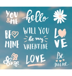 valentines day typographic designs vector image