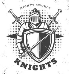 Vintage monochrome knights template vector