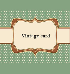 Vintage polka dot card vector image vector image