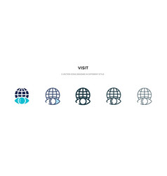 Visit icon in different style two colored and vector