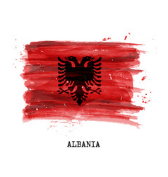 Watercolor painting flag of albania vector