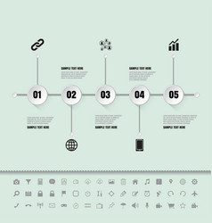 white buttons timeline with set of icons vector image