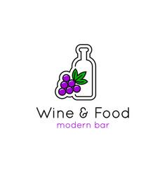 wine bar minimalistic logo line emblem vector image