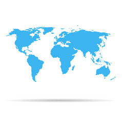 world map blue earth isolated on white background vector image