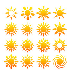 Yellow sun icons isolated on white vector