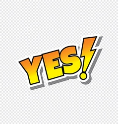 yes cartoon text sticker vector image