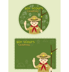 Boy scout with Camping Line Icons Label Background vector image vector image