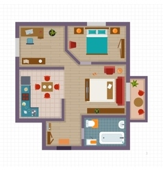 Detailed apartment furniture overhead top view vector