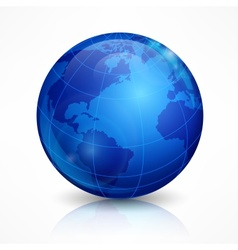 Globe blue sphere earth on white vector image vector image