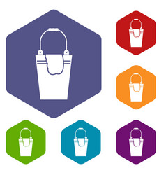 bucket and rag icons set vector image