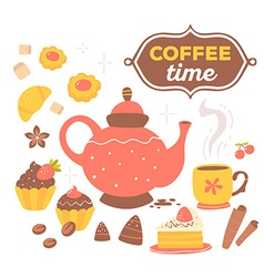 colorful set of red and yellow coffee the vector image