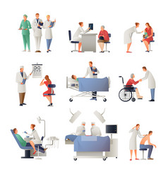 doctor and patient flat icons set vector image vector image