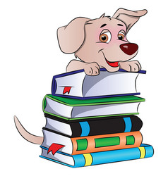 dog on stack of books vector image