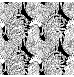 Graphic rooster pattern vector image vector image